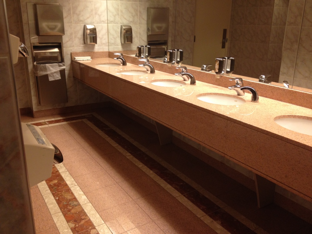 Picture of accessible washroom sinks and hand dryer
