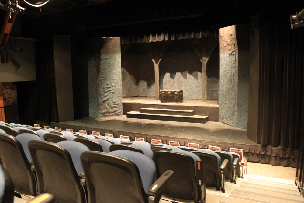 Picture of the stage in the theater with accessible seating in front