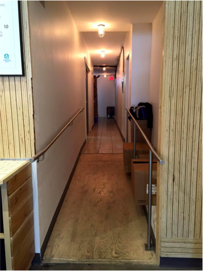 Picture of ramp to washroom with railings