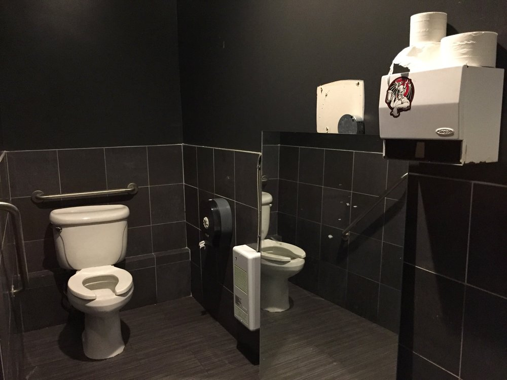 toilet with grab bars, and paper towel dispenser