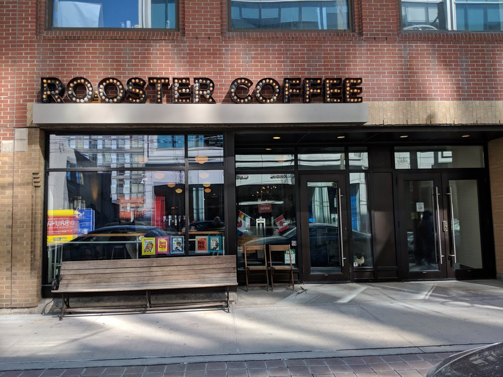 Picture of the accessible entrance of the Rooster Coffee House