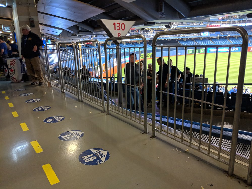 Picture of accessible seating in 100 level of Rogers Centre