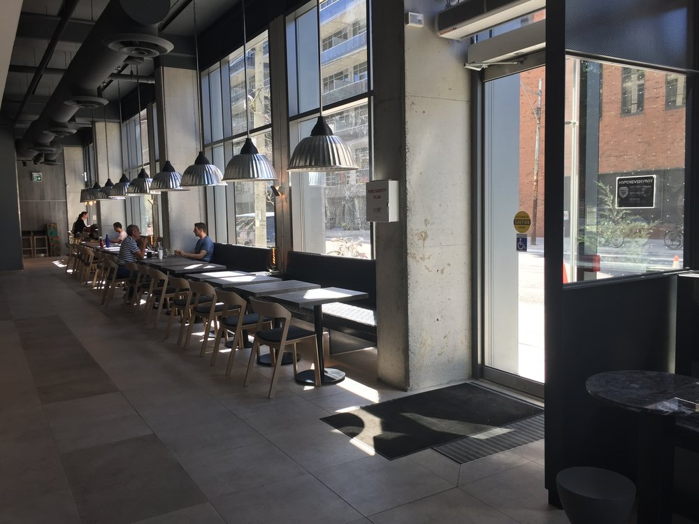 Picture of accessible seating indoors at Impact Kitchen