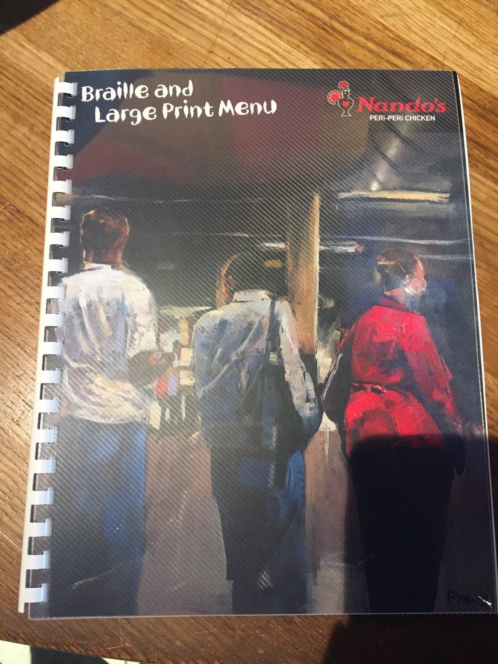 Picture of accessible menu at Nando's Danforth