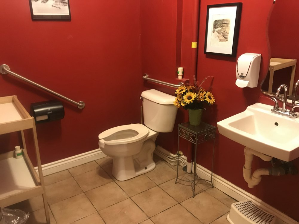 Picture of the accessible washroom at Celena's Bakery