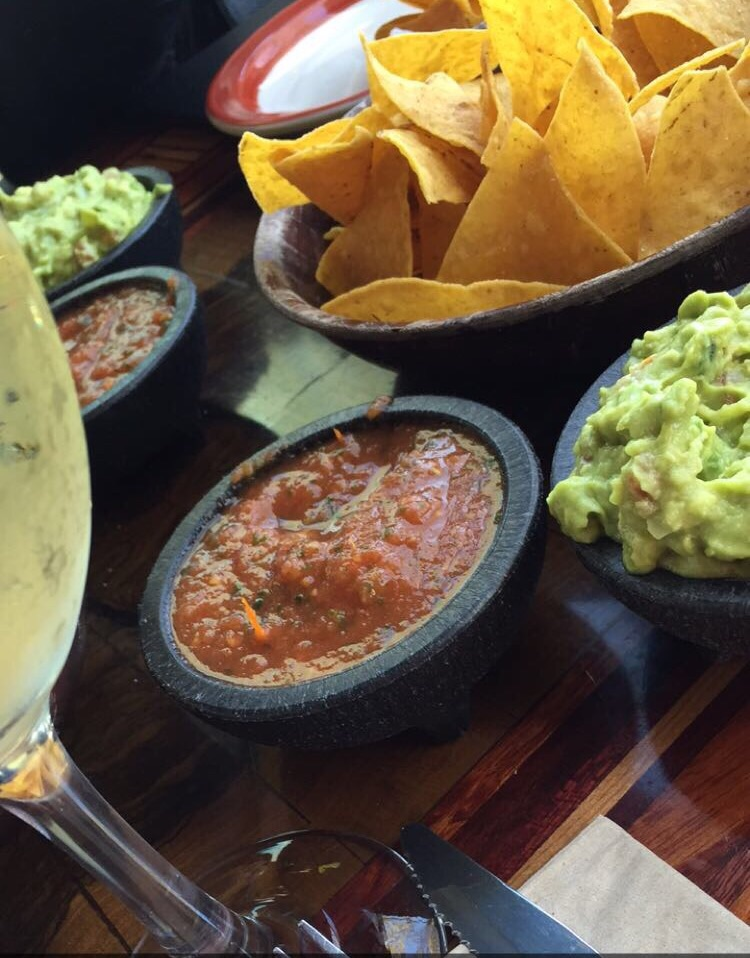 Chips, guac, and wine. Enough said.