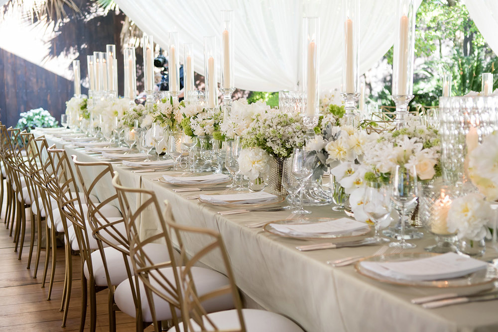 white wedding table scape