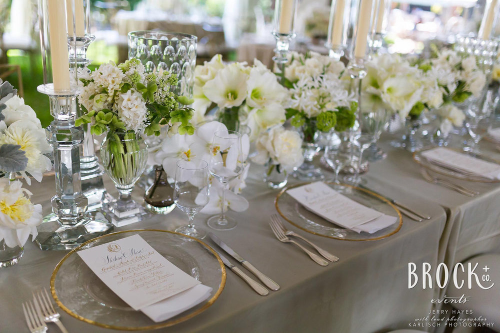 white, green, and gold table scape