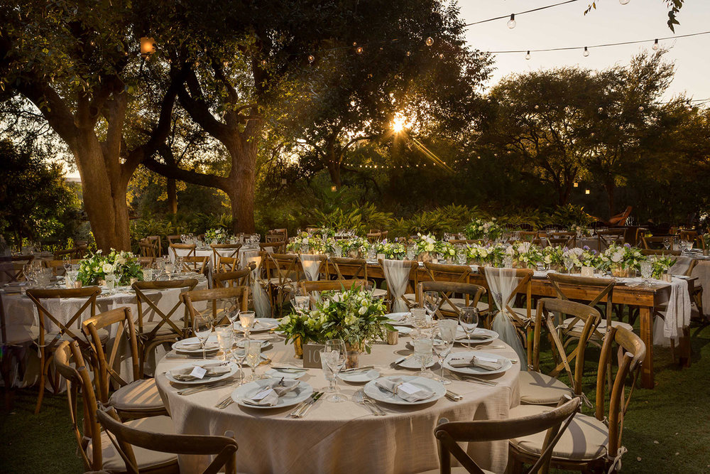 dusk wedding reception