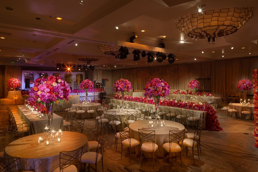 pink floral reception