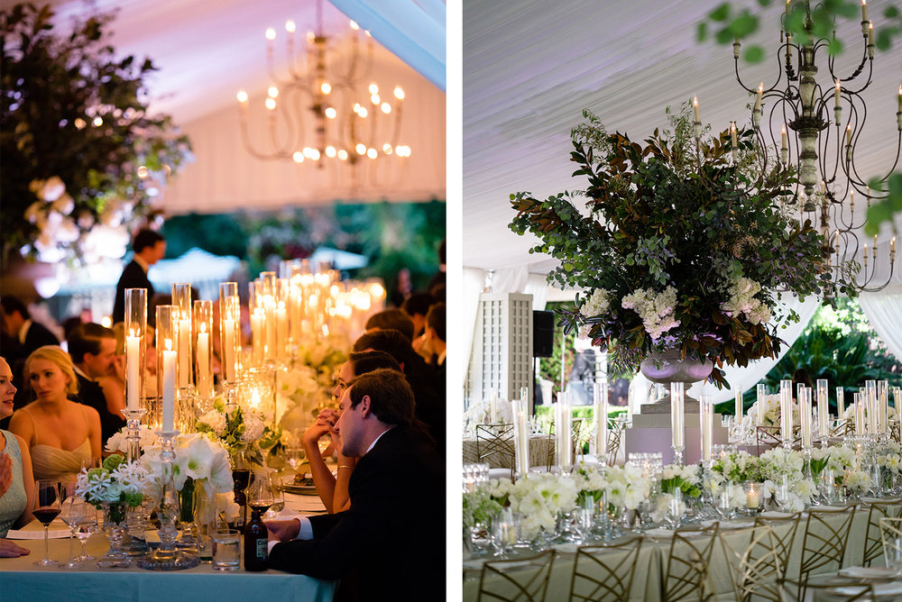 candlelit reception, exquisite greenery centerpieces
