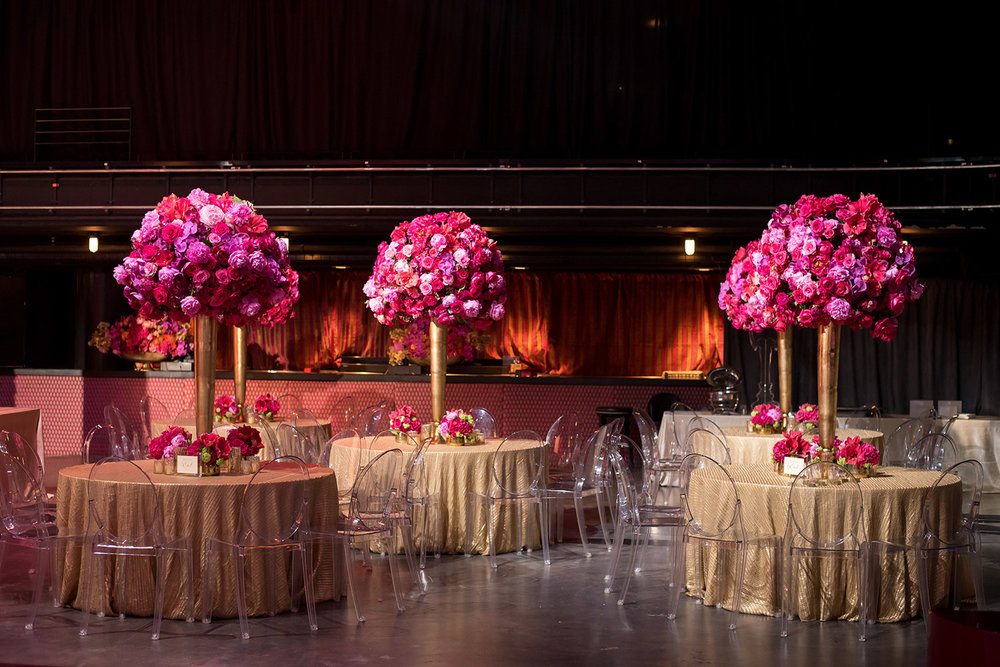 Tall pink table centerpieces