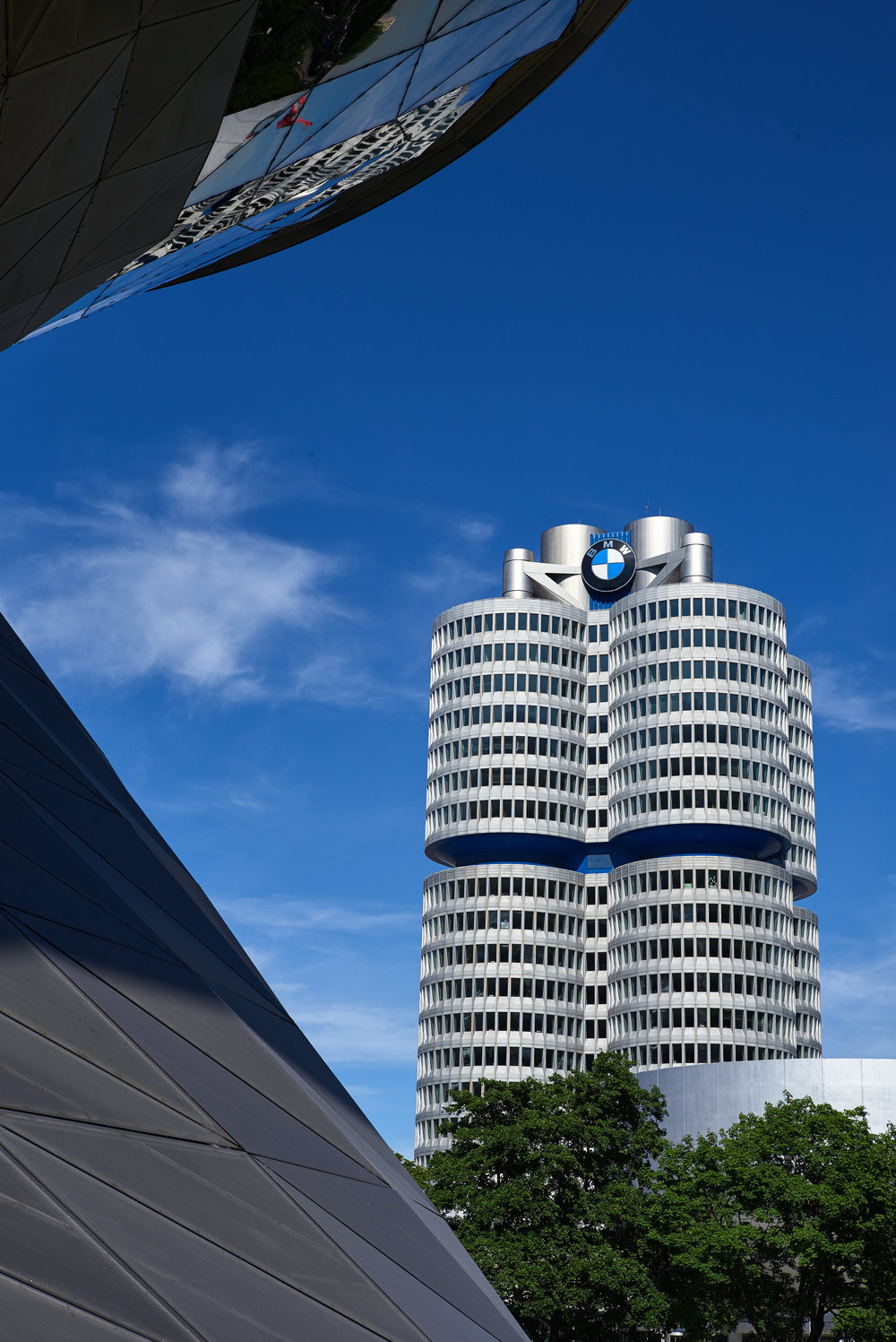 The BMW office, as seen from BMW Welt, with the museum in front.