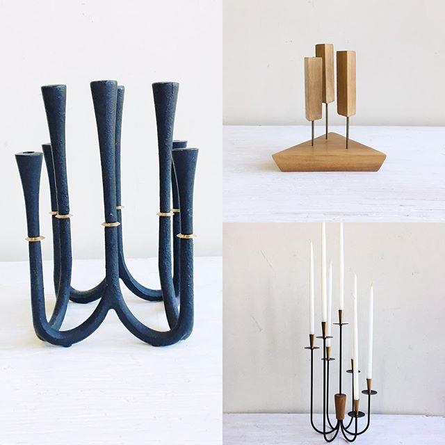 3 stunning mid century modern Danish candelabras in the shop and online. . . . #mcmhome #midcenturyportland #danishdesign #dansk #midcenturymodern #midcenturymoderndecor #mcmcandelabra #gooddesign #timelessdesign #elegance #vintagehome #vintagepdx #danishmodern