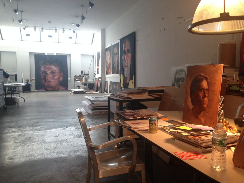 Preeminent artists like Chuck Close have looked on as Max moved from his traditional skill sets(Max's portrait on table in Chuck's studio) into innovative directions in contemporary art.