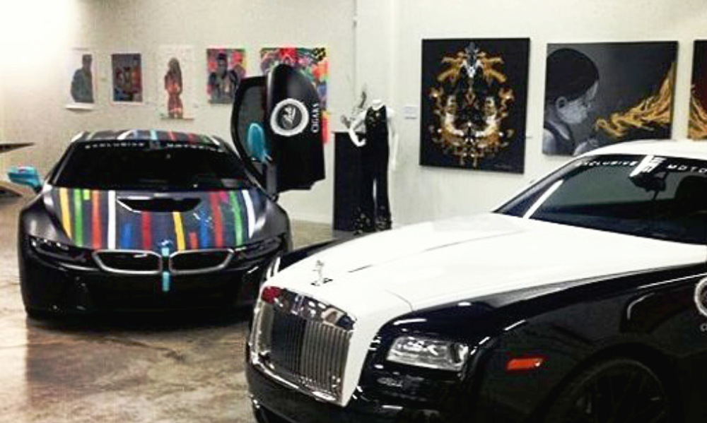 Special event at Lou La Vie exhibiting Makewell's works in a group show along with fashion show, and Rolls Royce Phantom.