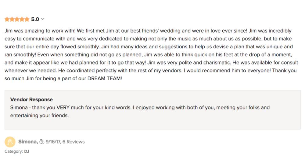 Simona Wedding Wire Review by DJ Jim Cerone