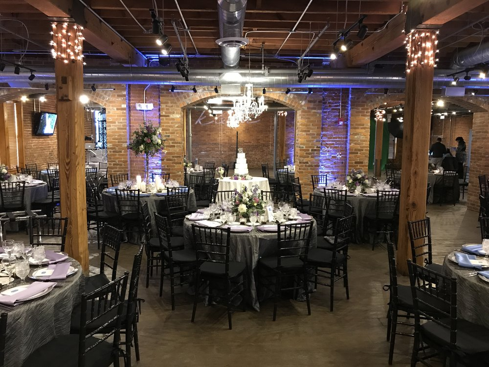 Kristen & Mark's celebration at  Mill Top Noblesville  Decorative Uplighting: Jim Cerone The Perfect Host