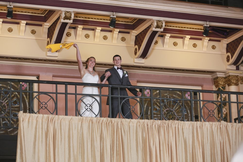 After their ceremony and room 'flip' Kelsi & Chris make their grand entrance! Photo courtesy Jennifer Driscoll Photography