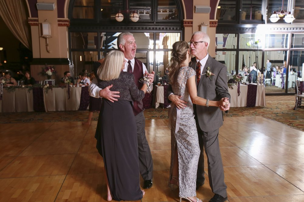 Halfway thru their dance, Kelsi & Chris' parents switched for a laugh! Photo courtesy Jennifer Driscoll Photography