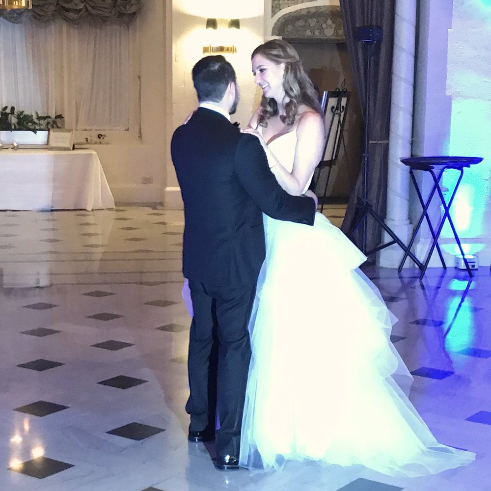 "Samantha & Nick's 1st dance ""All of Me"" John Legend (her dress tho, right?)"