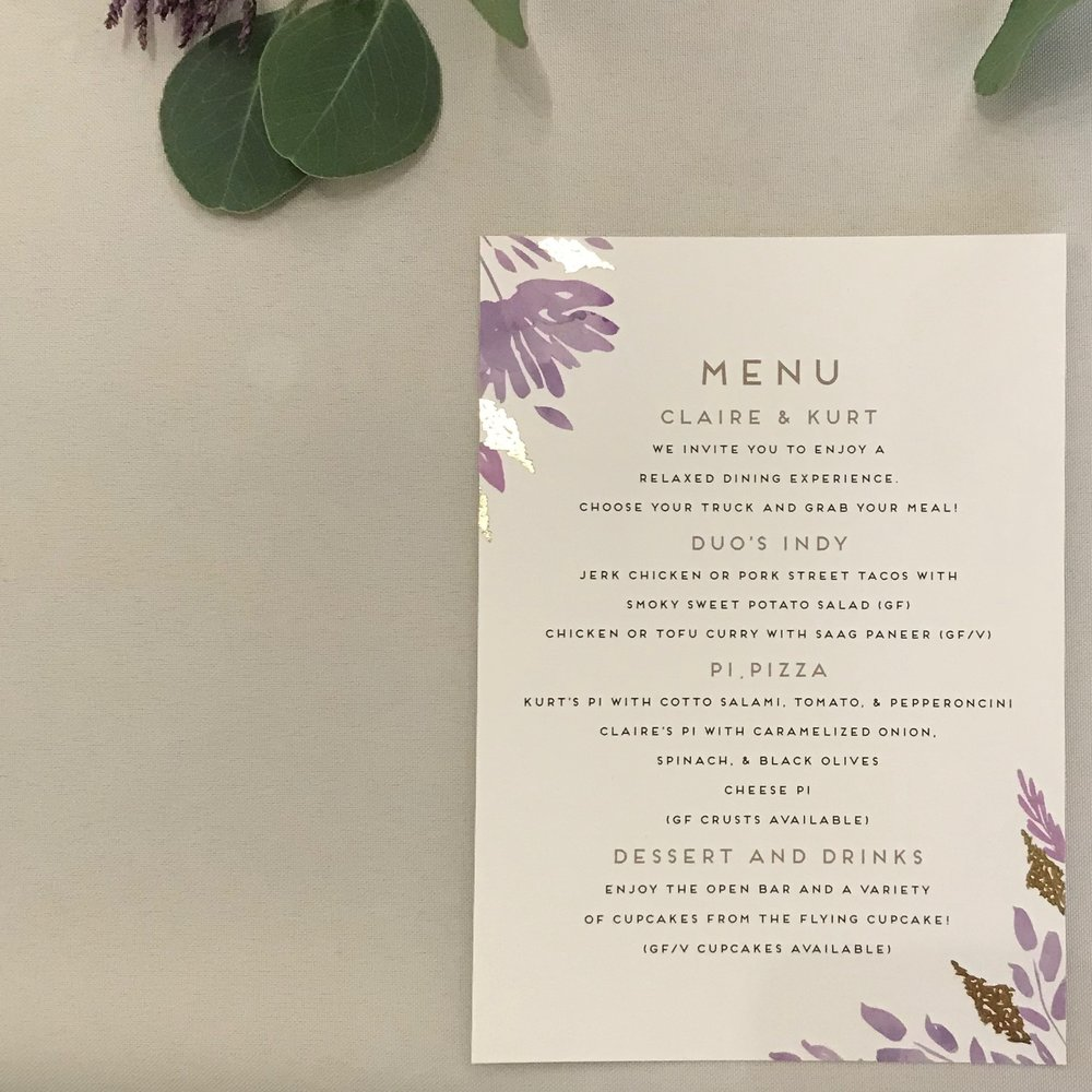 Claire & Kurt Menu by DJ Jim Cerone