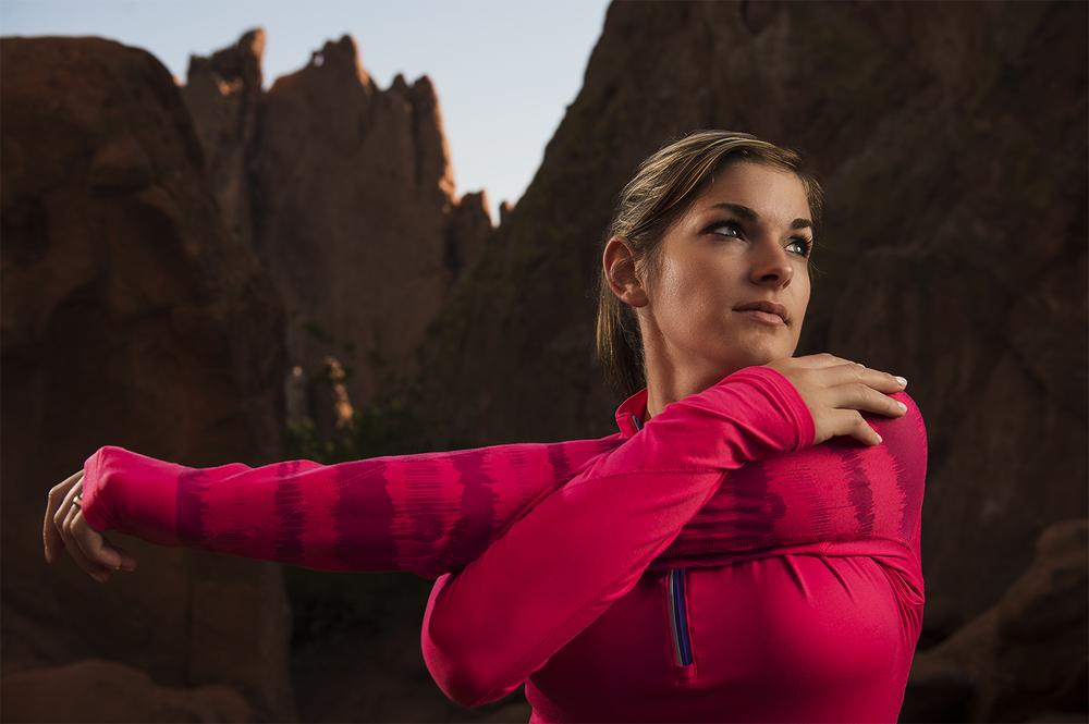 Creative lighting on a stretching runner at Garden of the Gods in Colorado Springs, CO