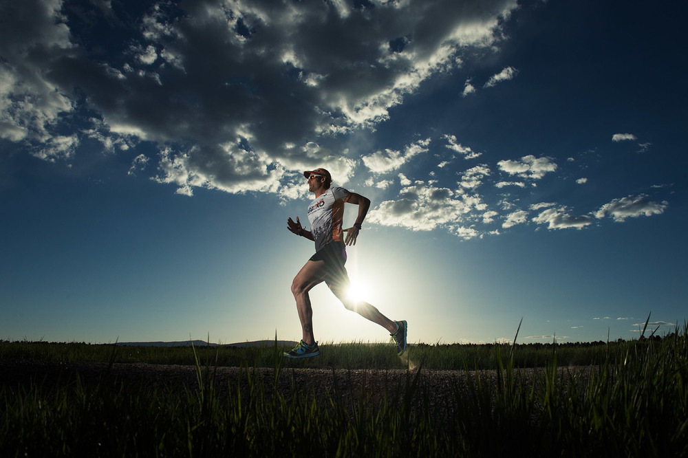 GECKO athlete Mike Le Roux outside of Pagosa Springs, CO wearing Pearl Izumi running shoes