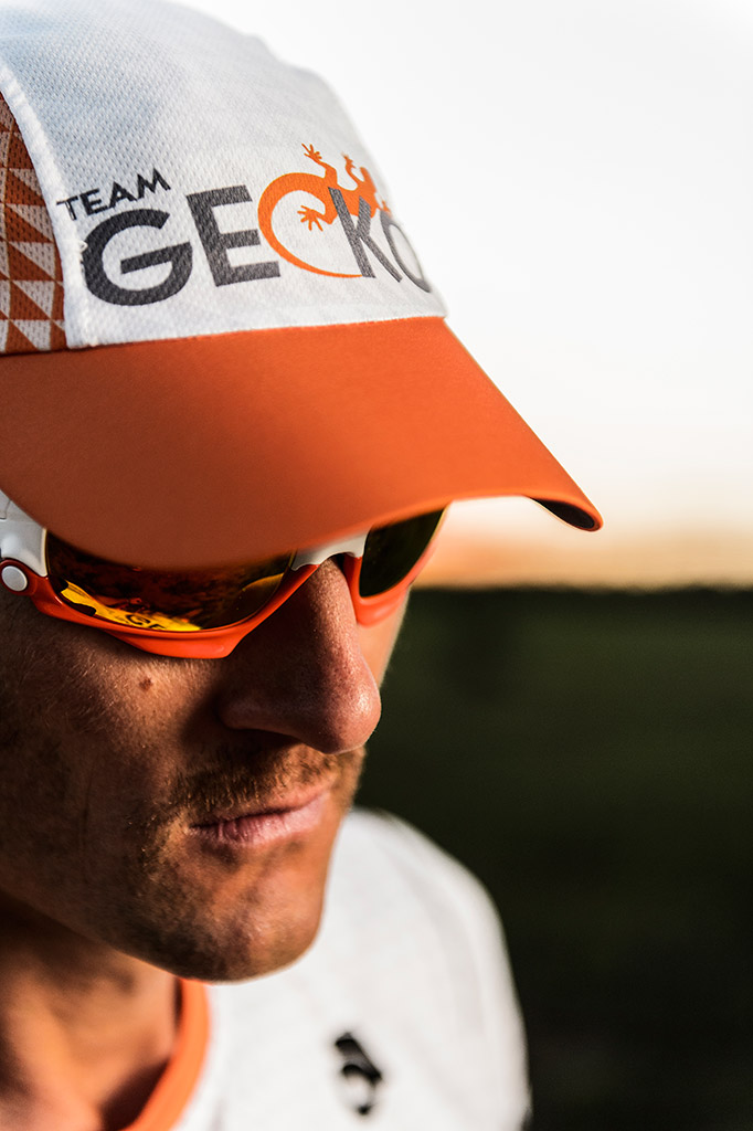 GECKO athlete Mike Le Roux with Team GECKO hat and Oakley eyewear