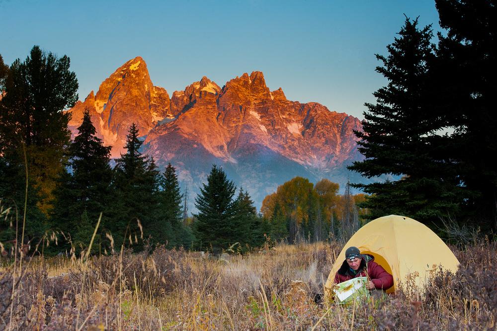 Camping sunrise on the Grand Teton range