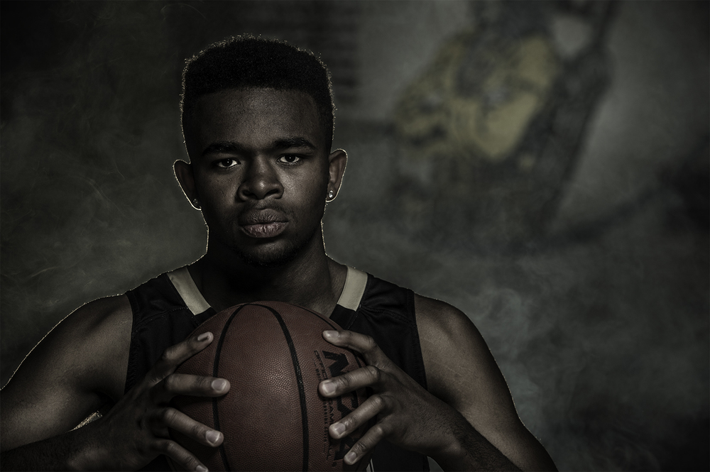 Creative lighting portrait of a basketball player