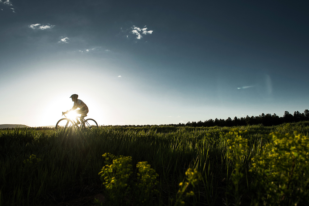 A female cyclist riding through a field in southwest Colorado at sunset