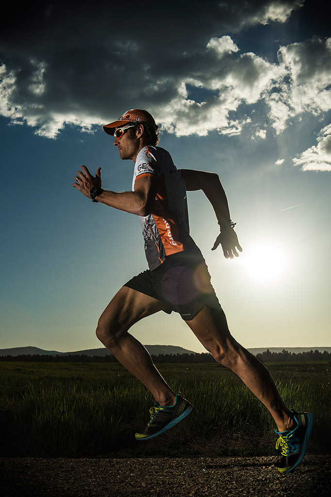 GECKO athlete Mike Le Roux running outside of Pagosa Springs, CO, wearing Pearl Izumi shoes