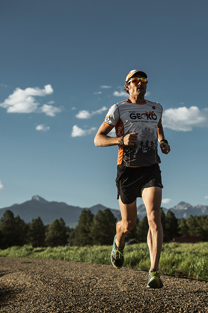 GECKO athlete Mike Le Roux running with Pagosa Peak in the background