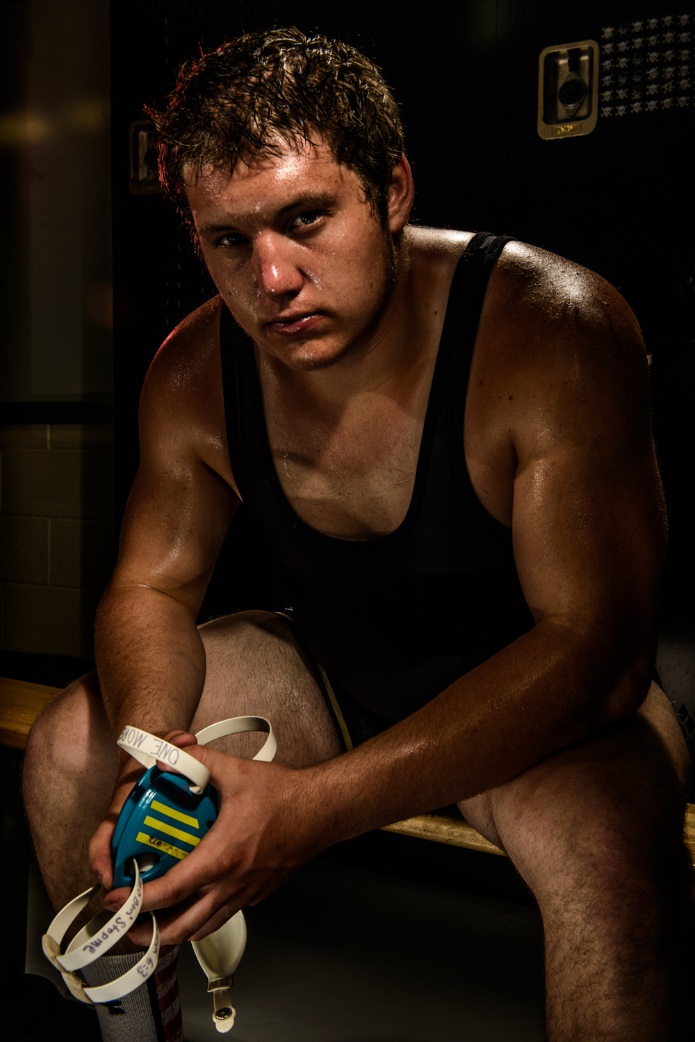 Champion wrestler portrait in locker room