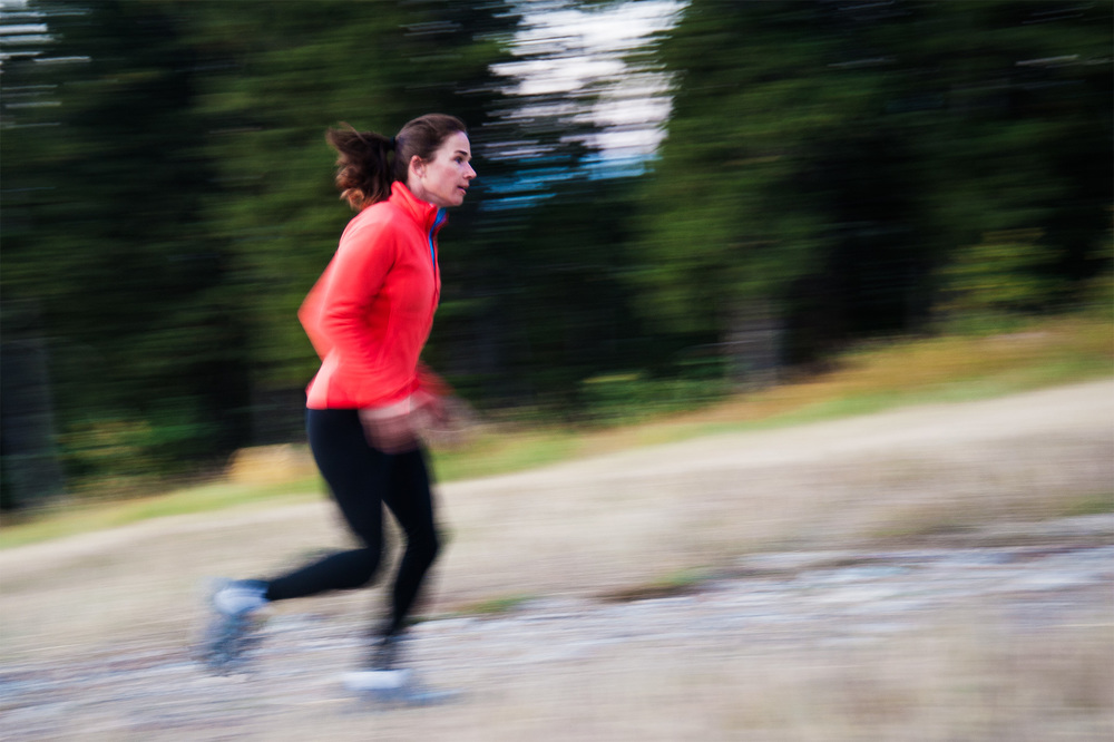 A panning motion shot of North Face athlete Kit Deslauriers in Jackson, WY