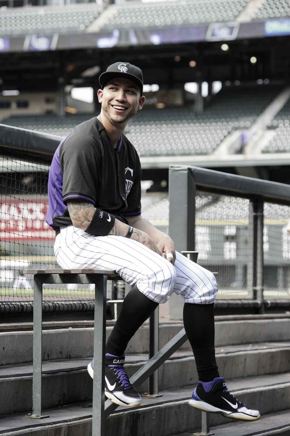 Colorado Rockies' outfielder Carlos Gonzalez wearing classic high socks