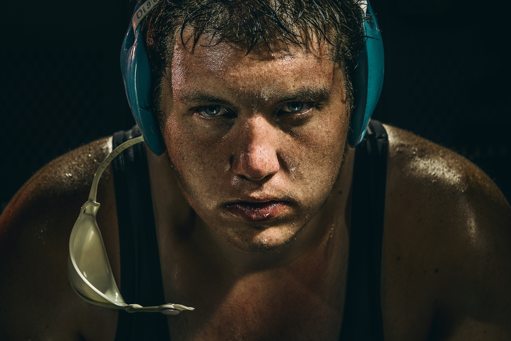 Dramatic Champion Wrestler Portrait