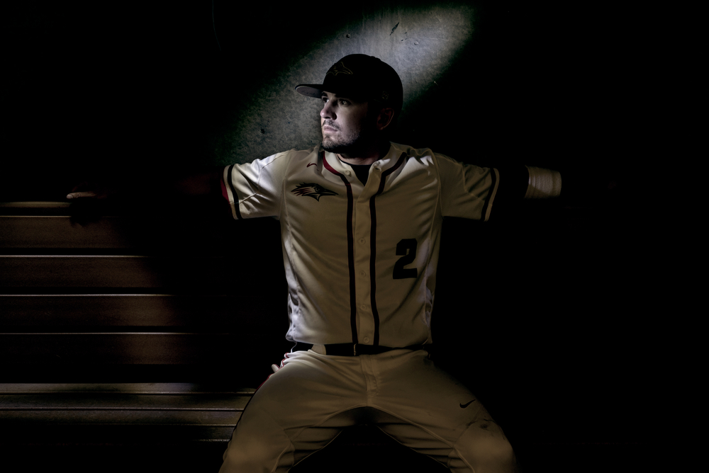 Lightpainting using pen light of college baseball player