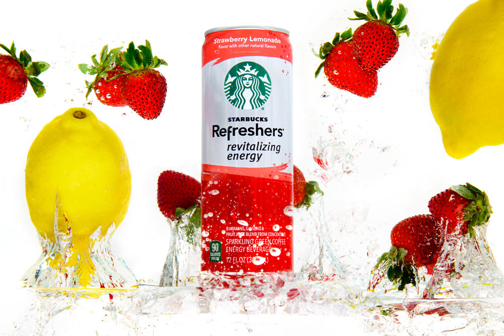 Product photography featuring Starbucks Refreshers, fruit and liquids
