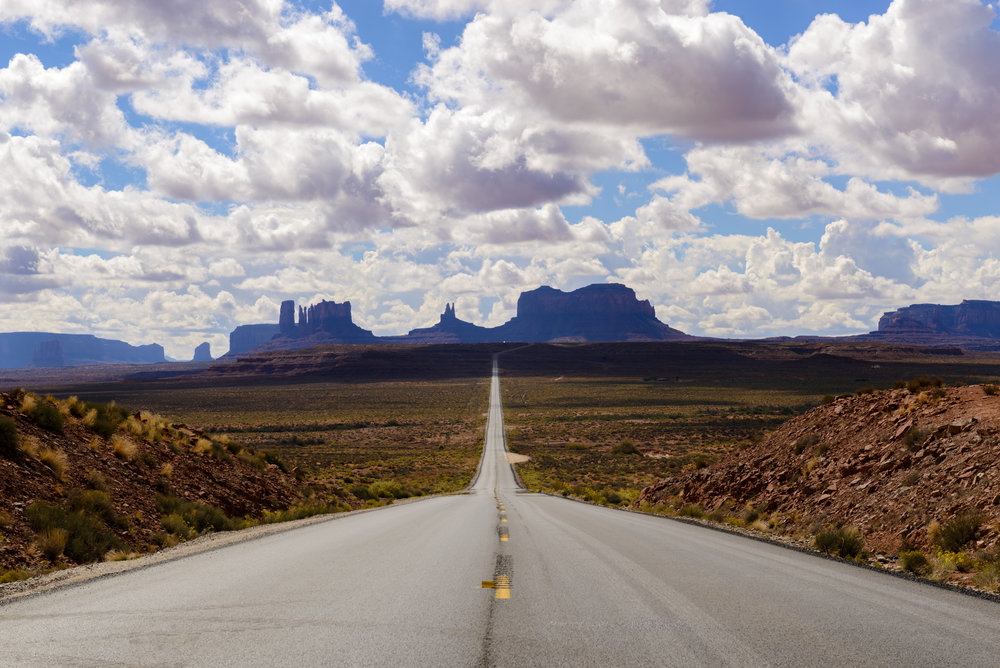 """I'm pretty tired. I think I'll go home now."" — Forrest Gump Approximately mile-marker 13, in Utah, looking towards Monument Valley for those that are wondering!"