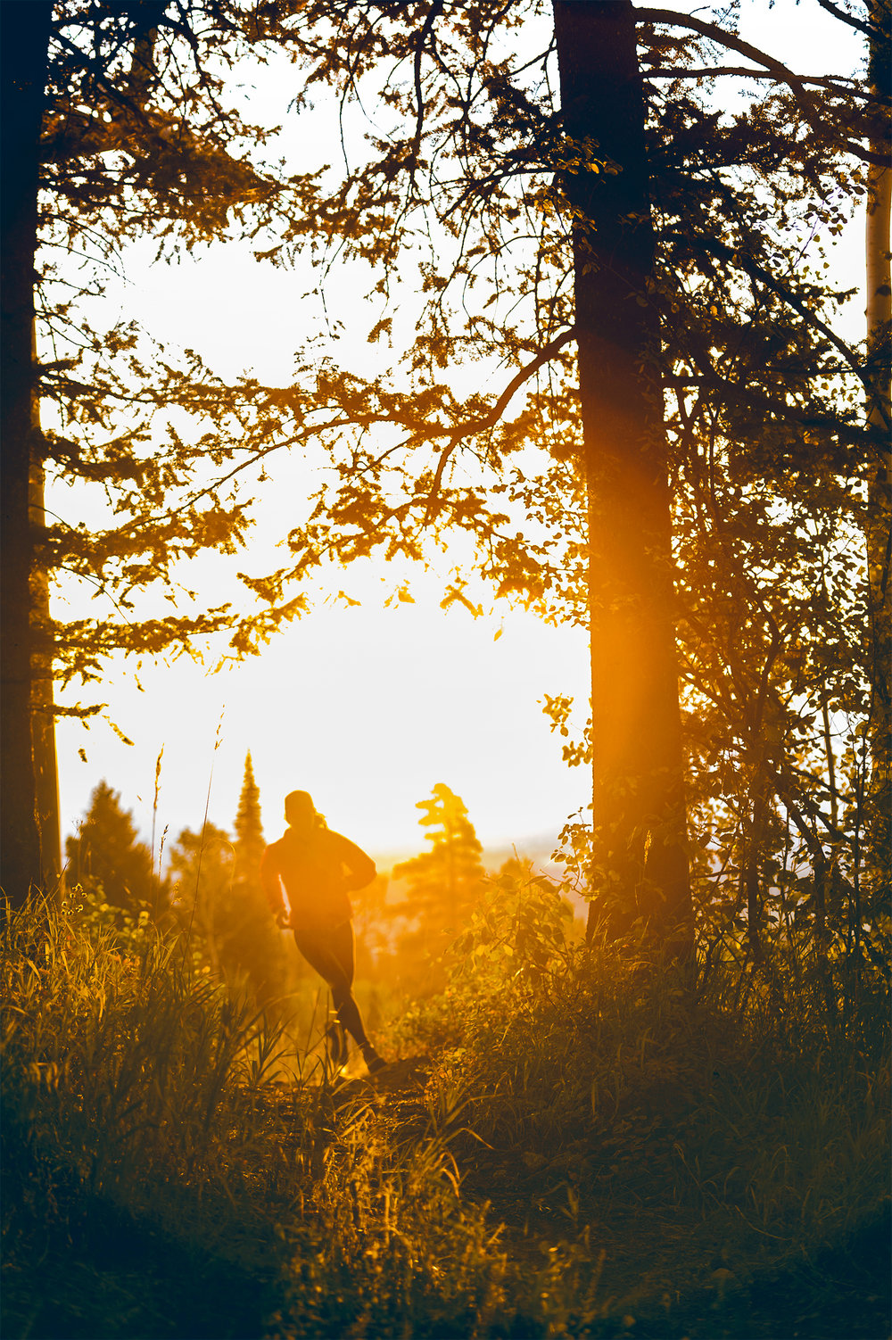 Female athlete running down a mountain trail at sunrise