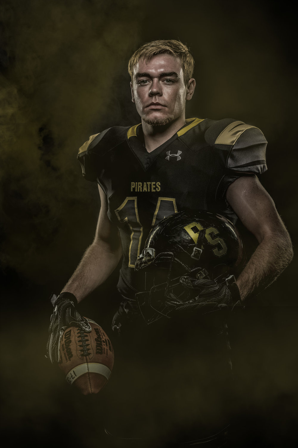 Portrait of High School Football Player
