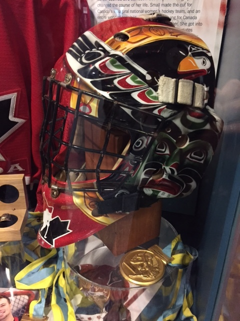 Ensconced in cases at the Mastercard Centre were memorabilia relating to many well-known Canadian athletes, including this amazing mask worn by goalie and 3-time Olympian Sami Jo Small.