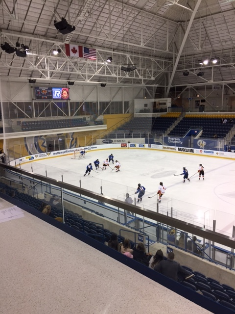 The Ryerson University women's hockey team plays a game in what used to be Maple Leaf Gardens. It is now called the Mattamy Athletic Centre.