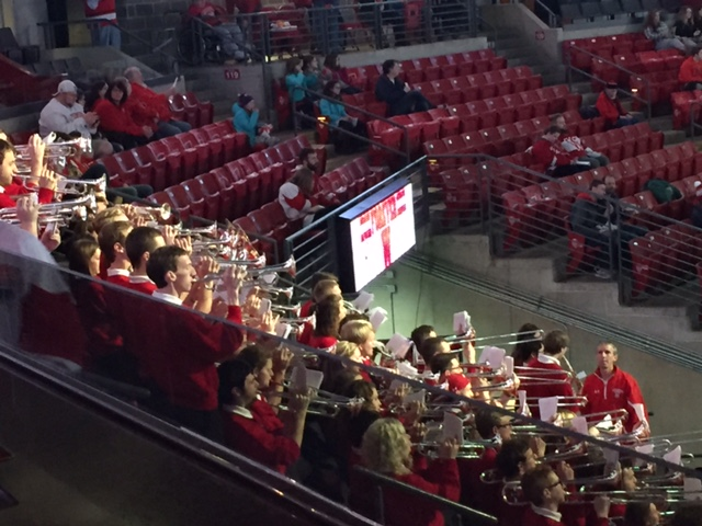 Pep band plays before the start of men's hockey game.