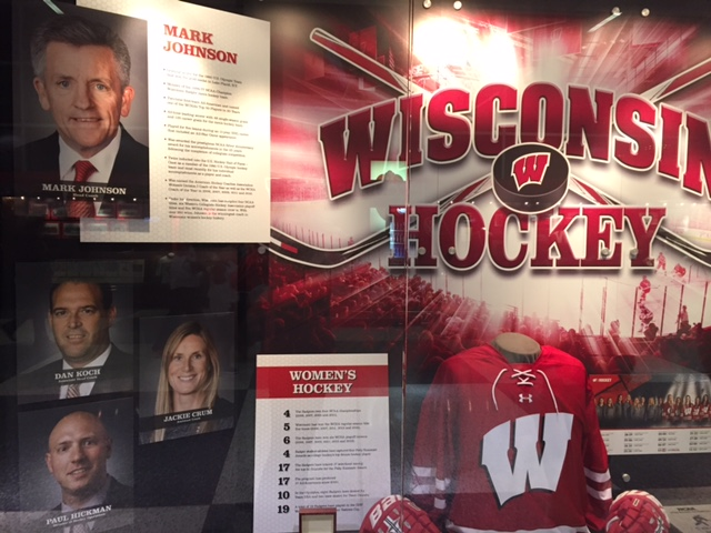 The Kohl Center concourse features display cases related to athletics at the University.