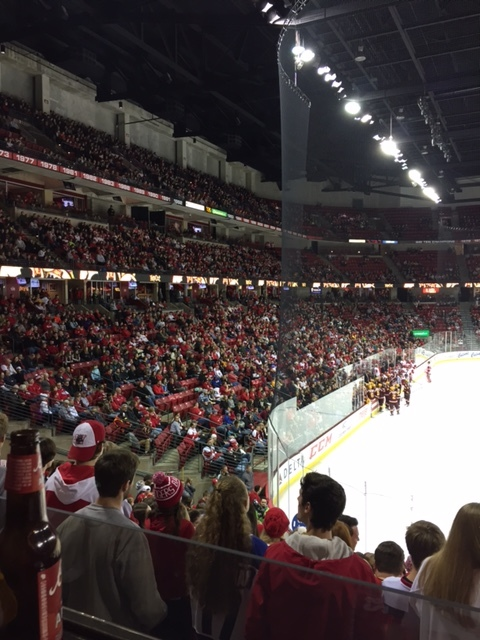 A men's hockey game at the Kohl Center.