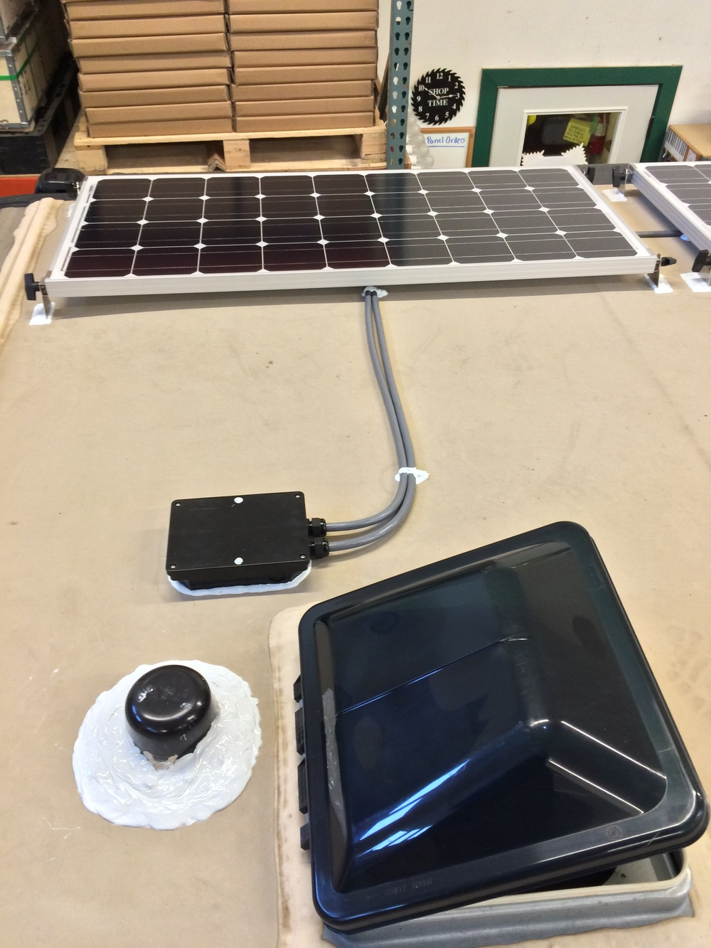Solar panels and combiner box