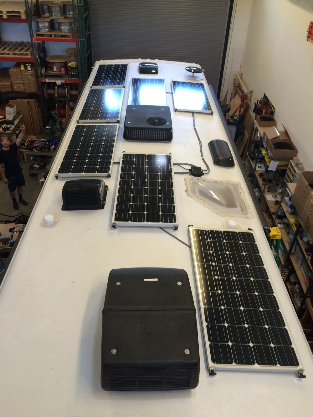 Equipment Added:  7x  SF160 160W Solar Panels  1x  Roof C-Box  1x  Sun Runner Victron MPPT 50A sub 100/50  1x  Victron MultiPlus 12/3000/120-50 120V Inverter  1x  Victron Color Control GX Monitor  1x  Victron Digital M. Contr.200/200A GX  1x Victron Signature Lithium 400Ah Battery Bank